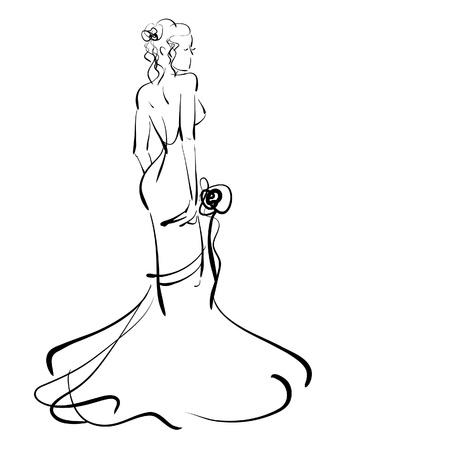 art schetsen mooie jonge bruid met boeket van de bruid.
