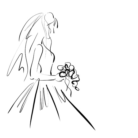 art sketching beautiful young  bride with the brides bouquet.