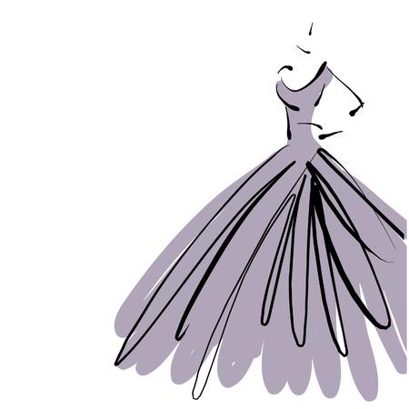 art schetsen mooie jonge bruid in een paarse jurk.