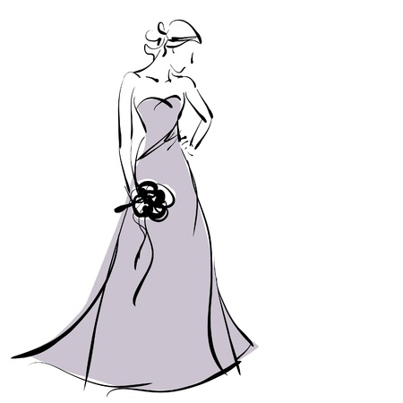 art sketching beautiful young  bride in violet dress with the brides bouquet. photo