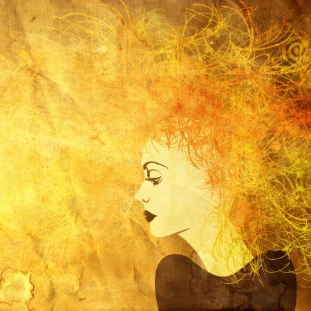 art colorful painting beautiful girl face on square golden background photo