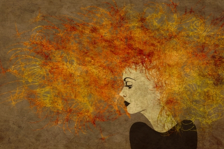 art colorful painting beautiful girl face with red curly hair on brown background photo
