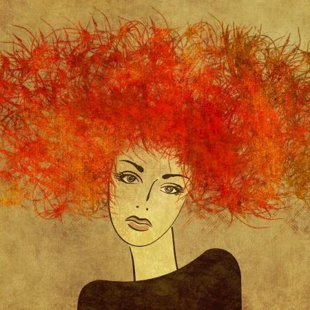 art kleurrijke schilderij mooi meisje gezicht met rood haar op sepia vierkante achtergrond