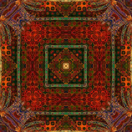 art eastern national traditional pattern in red and green colors photo