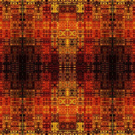 art vintage geometric ornamental pattern with red, brown and gold colors photo