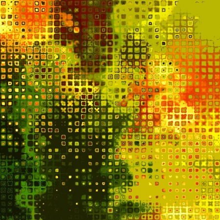 art abstract geometric textured, bright green, gold and red background  photo