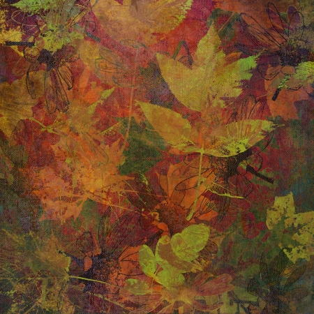 art golden autumn leaves background, card in pastel colors photo