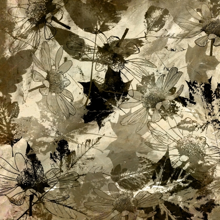 art golden autumn leaves background in sepia and black colors photo