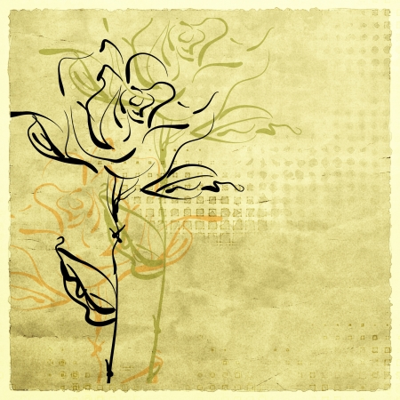 art sketching flowers on sepia background for family holidays photo