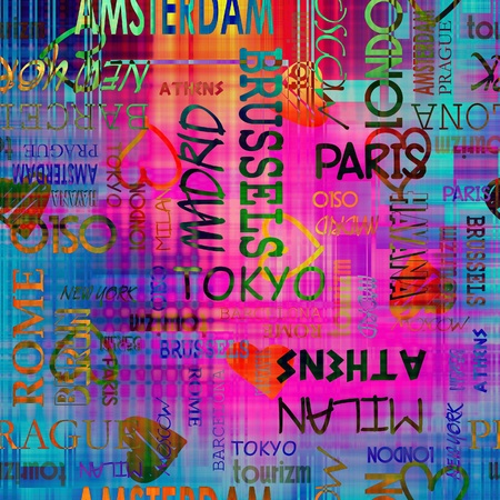 art vintage word pattern, travel background with word Berlin, Moscow, Amsterdam, Rome, Milan, Athens, Oslo, New York, Madrid, London, Tokyo, Barcelona  photo