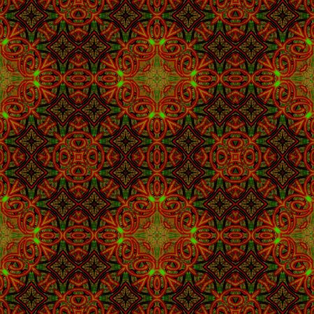 art eastern ornamental traditional pattern in red and green colors photo