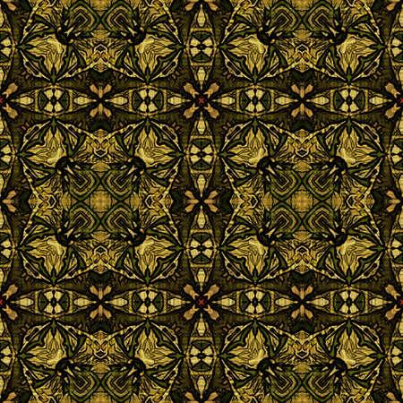 art nouveau geometric ornamental vintage pattern in green photo