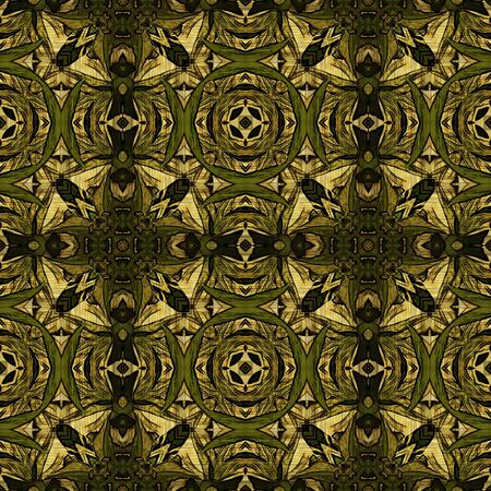 art nouveau geometric ornamental vintage pattern in green photo
