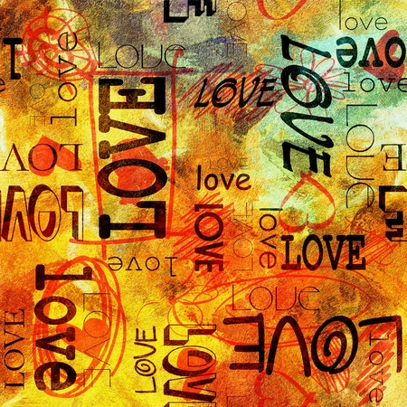 art vintage graffiti pattern background with love photo