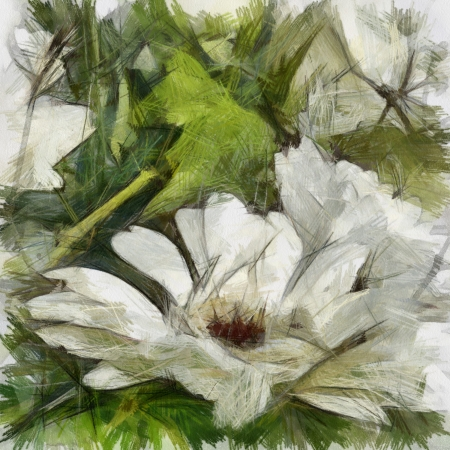 art grunge floral vintage background with gerbera, drawing with color pencils photo