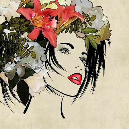 カラフルなセピア色の背景上のプロファイルの美しい少女の顔をスケッチ アート