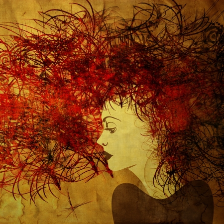 art colorful painting beautiful girl face with dark red hair on golden square background photo