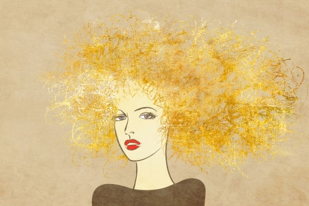 art colorful painting beautiful girl face with gold curly hair on sepia background photo