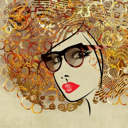 art colorful sketching beautiful girl face with curly hair on sepia background photo