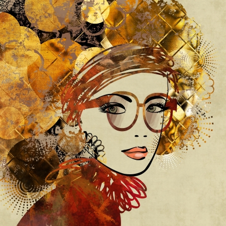kunst kleurrijke schetsen mooi meisje gezicht op sepia achtergrond