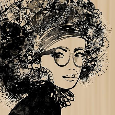 modelos negras: esbozo de arte colorido cara hermosa ni?a sobre fondo sepia