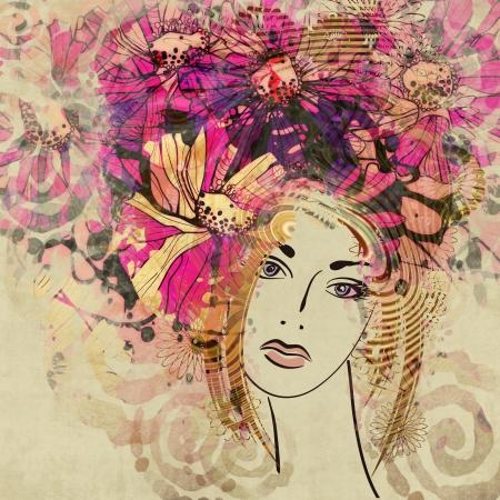 art kleurrijke schetsen mooi meisje gezicht met roze bloemen krullend haar, op sepia achtergrond