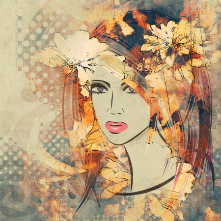 art colorful sketching beautiful girl face with peach floral curly hair, on sepia background photo