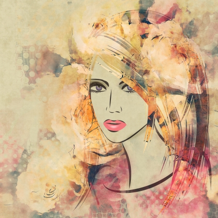 art colorful sketching beautiful girl face with pink floral curly hair, on sepia background photo
