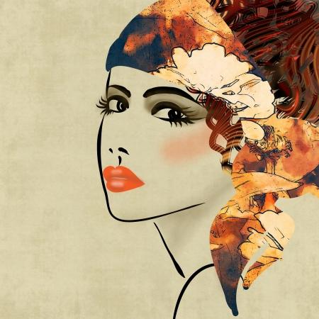 kunst kleurrijke schetsen mooi meisje gezicht op sepia achtergrond, in art deco-stijl Stockfoto