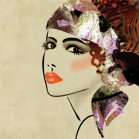 art colorful sketching beautiful girl face on sepia  background, in art deco style photo