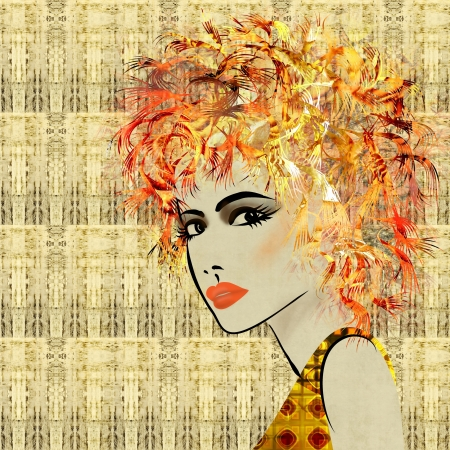 art colorful sketching beautiful girl face on sepia ornamental background, in art deco style photo