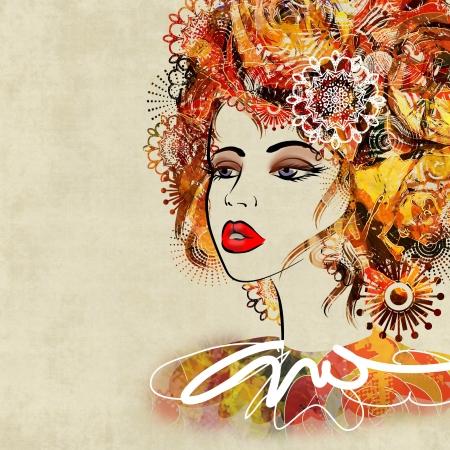 art kleurrijke schetsen mooi meisje gezicht in profil op sepia achtergrond