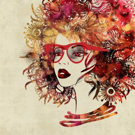 profil: art colorful sketching beautiful girl face in profil on sepia background Stock Photo