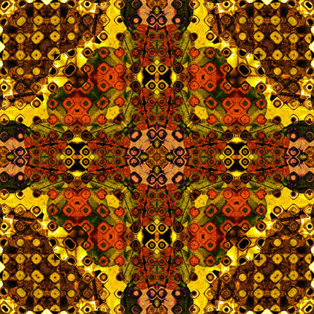 art eastern national traditional pattern in golden, brown, orange and red colors photo