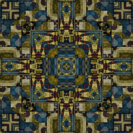 art eastern national traditional pattern in green, blue and brown colors photo