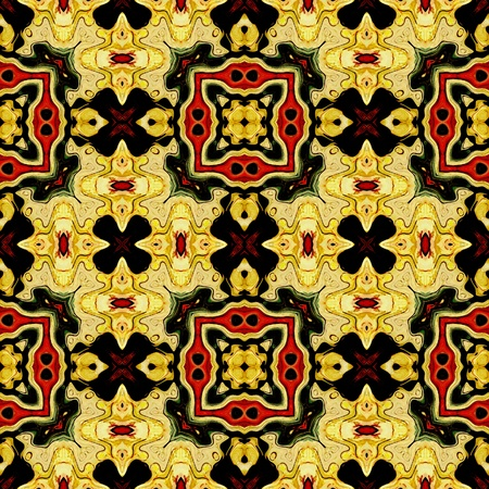 art eastern national traditional pattern in yellow, black and red colors photo