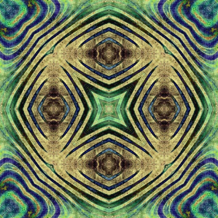 art eastern national traditional pattern, background in sepia, green and blue colors photo