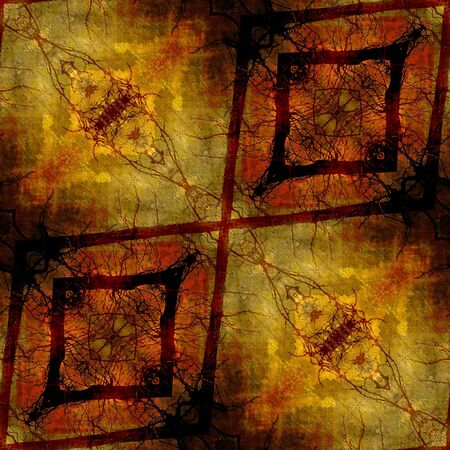 art eastern national traditional pattern, background in brown, orange and yellow colors photo