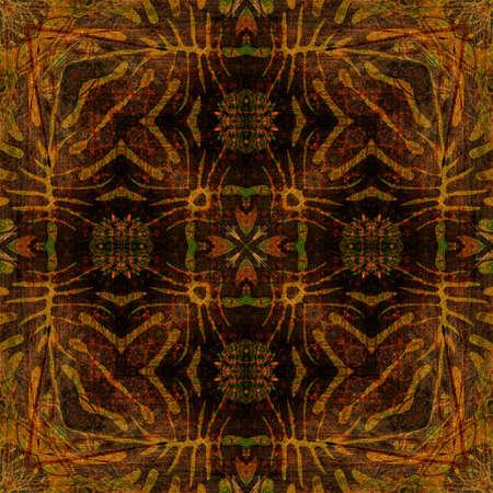 art nouveau colorful ornamental vintage pattern in orange, brown and golden colors photo