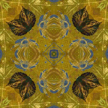 art nouveau ornamental vintage pattern in green color photo