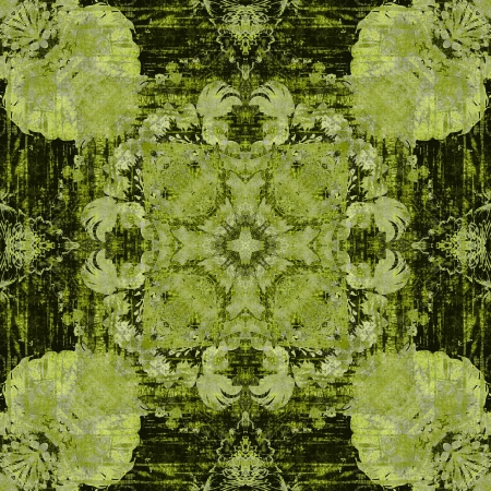 art nouveau ornamental vintage pattern in green color photo