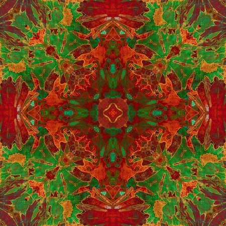 art nouveau ornamental vintage pattern in red and green colors photo