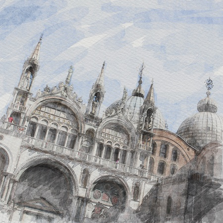 art watercolor background with facade of St Marks basilica in Venice, Italy photo