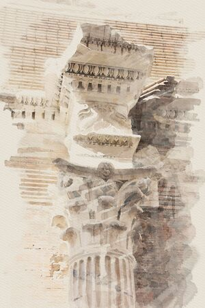 art watercolor background with europen antique town, Italy, Rome. Detail of classic small-caps photo