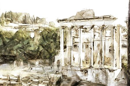 art sketching vintage background with european antique town, Italy, Rome photo