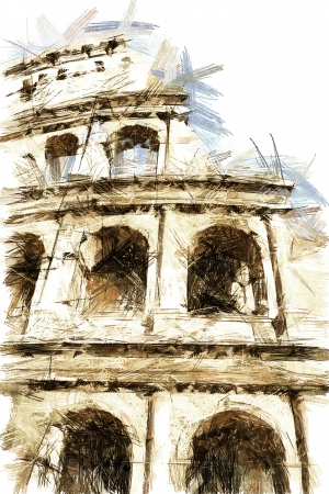 art sketching vintage background with european antique town, Italy, Coliseum in Roma photo