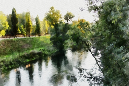 art watercolor background with europen landscape photo