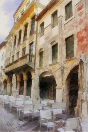 art watercolor background with europeans medieval town, outdoor cafe  photo