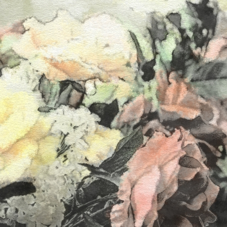 art floral vintage background with white roses in pastel colors photo