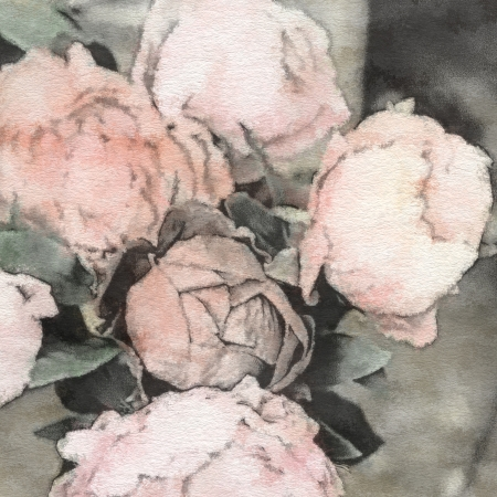 arte floral de la vendimia en colores pastel, con peon�as rosas photo